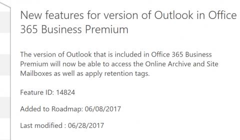 Office 365 Roadmap Screenshot
