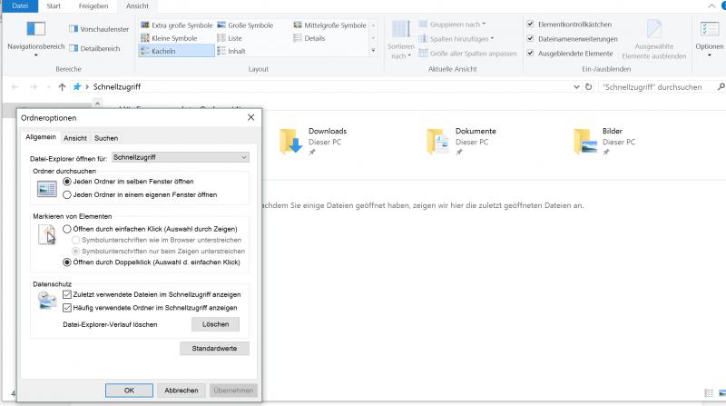 Windows 10 zuletzt besucht deaktivieren