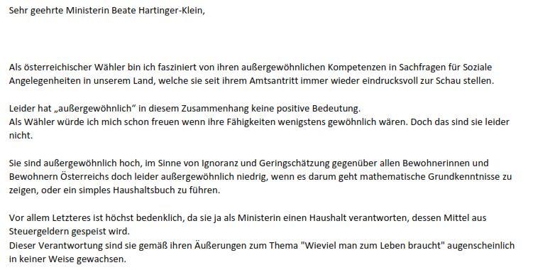 Hartinger-Klein Ruecktritt